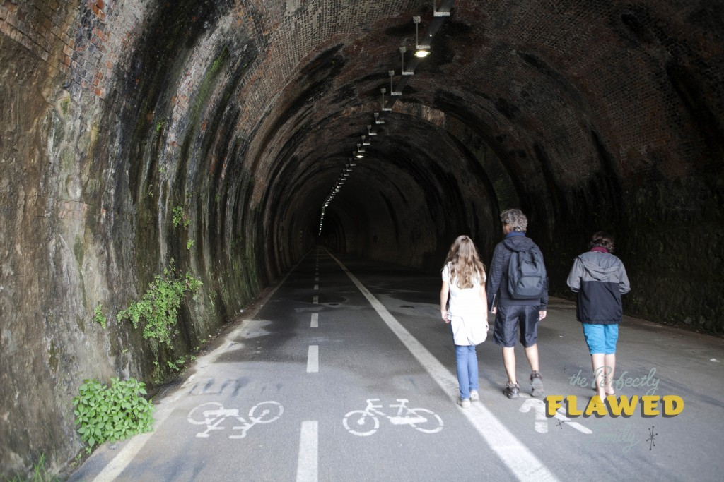 Walking in the tunnel from Bonassola to Levanto